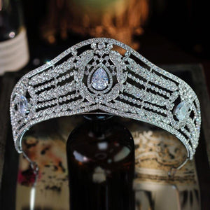 Luxury Women Hair Accessories Wedding Cubic Zirconia Rhinestone Bridal Tiaras Crowns Crystal Pageant Diadem Headband - EUFASHIONBAGS