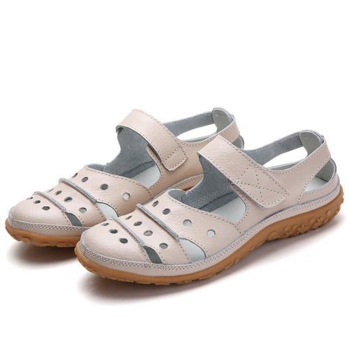 Women's Genuine Leather Sandals Women Hook Loop Summer Shoes Beach sandalias Hollow sandales