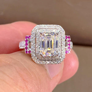 Proposal Engagement Rings for Women Full Bling Iced Out Shiny Crystal Cubic Zirconia Silver Color Trendy Jewelry