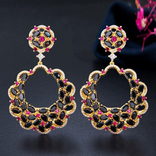 Luxury Designer Big Long Flower Drop Red Black Cubic Zirconia Stone Earring Yellow Gold Party Jewelry for Women - www.eufashionbags.com