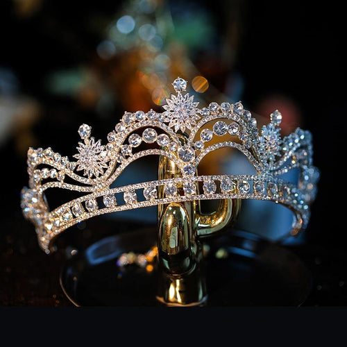 Baroque Luxury Crystal Flowers Bridal Tiaras Crowns Noble Rhinestone Pageant Prom Diadem Bride Headband Wedding Hair Accessories - www.eufashionbags.com