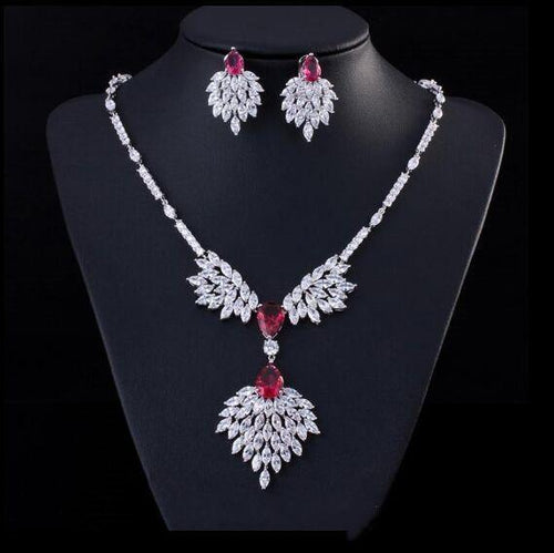 Women Cubic Zirconia Bridal Necklace and Earrings Wedding Accessories Jewelry Set - EUFASHIONBAGS