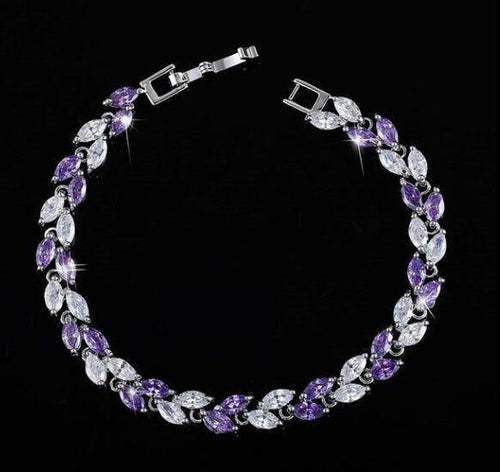 Women Fashion Jewelry Austrian Royal Blue Crystal Bracelet Link - EUFASHIONBAGS