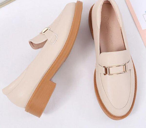 fashion women's Casual shoes retro loaferflate PU leather shoes light-mouthed Lady shoes - www.eufashionbags.com