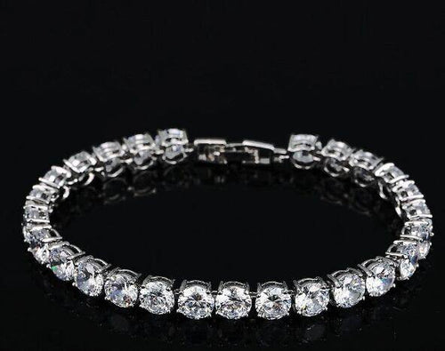 Fashion White Gold Color Round Cubic Zirconia Tennis Bracelet Jewelry for Women - www.eufashionbags.com