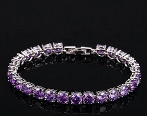 Fashion White Gold Color Round Cubic Zirconia Tennis Bracelet Jewelry for Women