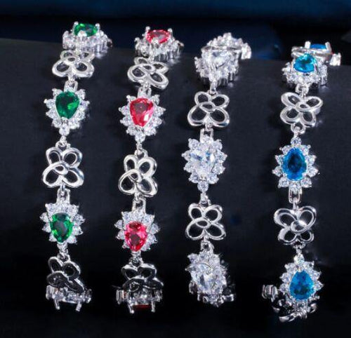 Fashion Cubic Zirconia Crystal Chain Link Bracelets Women Charm Bracelet Party Silver Color Jewelry Gift - www.eufashionbags.com