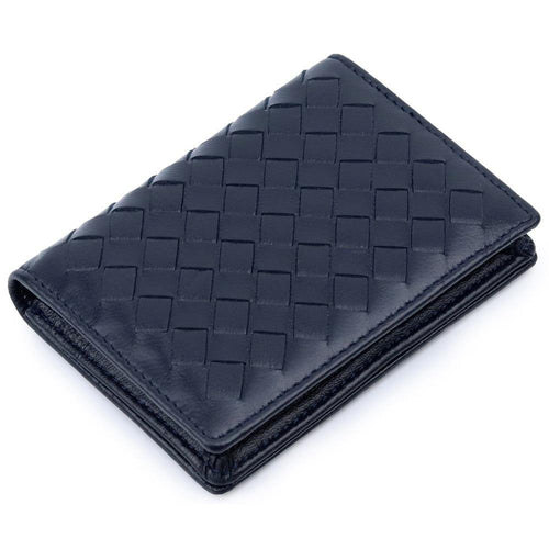 Handmade Soft Sheep Skin Knitting Card Wallets Genuine Leather Brand Business Card Holders - EUFASHIONBAGS