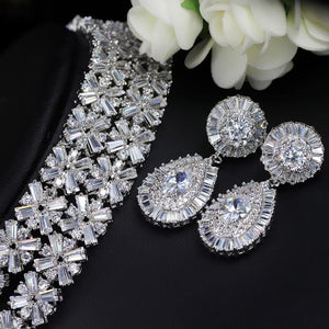 Fashion 4 Piece/set Cubic Zirconia Women Wedding Jewelry Set Necklaces Earrings Bracelet Ring - EUFASHIONBAGS