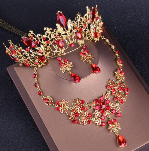 Fashion Women Gold Red Crystal Bridal Jewelry Sets Rhinestone Tiaras Crown Choker Necklace Earrings - EUFASHIONBAGS