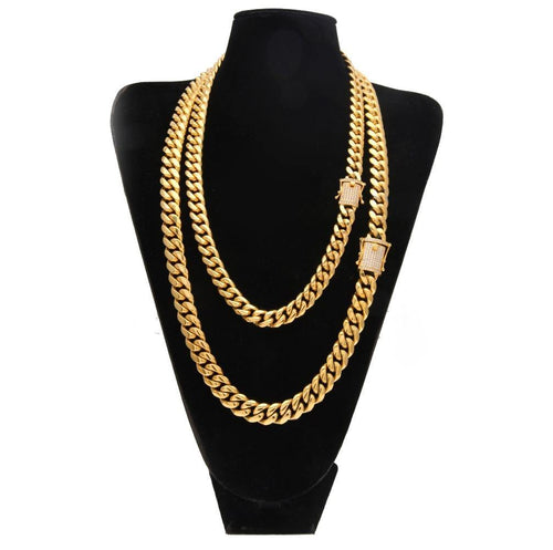 Men Stainless Steel Cuban Link Necklace Chain CZ Zirconia Triple Lock Hiphop Jewelry - EUFASHIONBAGS