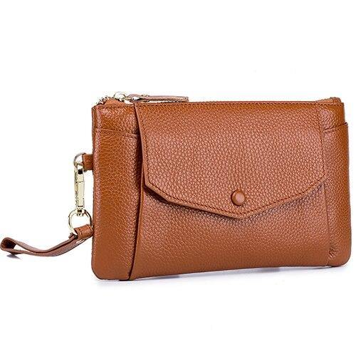 Genuine Leather Large Capacity Wallet With Mobile Pouch Women Coin Purse Zipper Pockets - EUFASHIONBAGS