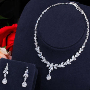 3pcs/set Women Costume Jewelry Set Cubic Zirconia Drop Necklcae Earrings and Bracelet b02 - www.eufashionbags.com