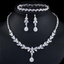 Load image into Gallery viewer, 3pcs/set Women Costume Jewelry Set Cubic Zirconia Drop Necklcae Earrings and Bracelet b02 - www.eufashionbags.com