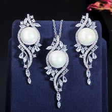 Load image into Gallery viewer, Green Cubic Zirconia Crystal Long Pearl Drop Earring Necklace Women Jewelry Set j20