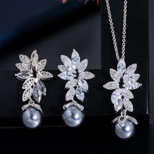 Cubic Zirconia Flower Silver Color Pearl Necklace Earrings Women Jewelry Sets j21 - EUFASHIONBAGS