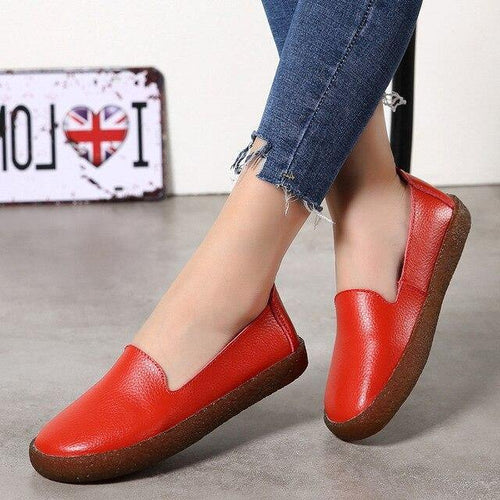 Fashion Leather Women Flats Women Shoes Loafers Nurse Casual Flat Shoes Zapatos Mujer - www.eufashionbags.com