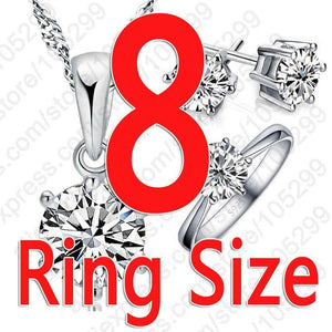 Women 925 Sterling Silver Bridal Jewelry Sets Cubic Zircon Crystal Necklace Rings Stud Earrings Set Gift - EUFASHIONBAGS