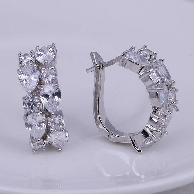 Silver Color Women Semi-precious Stone Stud Earrings Round Studs Ear Jewelry - EUFASHIONBAGS