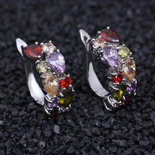 Load image into Gallery viewer, Silver Color Women Semi-precious Stone Stud Earrings Round Studs Ear Jewelry - EUFASHIONBAGS