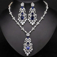 Load image into Gallery viewer, Top Quality Women Royal Blue Cubic Zirconia Earrings Necklace Evening Party Jewelry Set - EUFASHIONBAGS