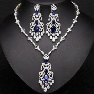 Top Quality Women Royal Blue Cubic Zirconia Earrings Necklace Evening Party Jewelry Set - EUFASHIONBAGS