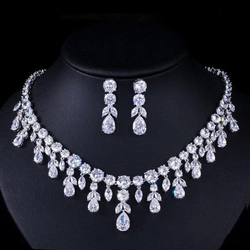 Luxury Women Wedding Party Jewelry sets Dangle Drop Bridal CZ Necklace Earrings J31 - EUFASHIONBAGS