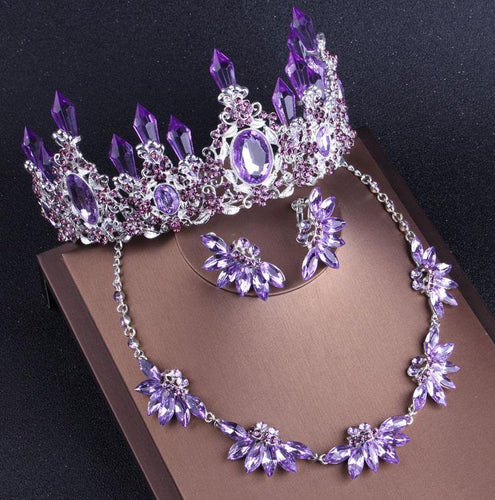 Purple Crystal Bridal Jewelry Sets Necklaces Earrings Crown Tiaras Set African Beads Jewelry Set Wedding Dress Accessories - EUFASHIONBAGS