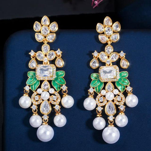 Long Flowers Cubic Zircon CZ Pearl Dangle Earrings for Women Bridal - EUFASHIONBAGS