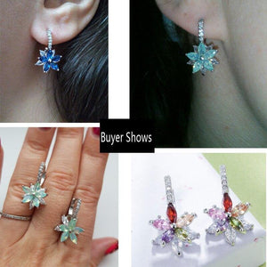 Lovely Geometric Flower Milticolor Cubic Zirconia Stud Earrings for Women Party Jewelry - EUFASHIONBAGS