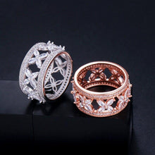 Load image into Gallery viewer, Wide Love Leaf Style CZ Crystal Finger Women Engagement Rings Wedding Party Jewelry - EUFASHIONBAGS