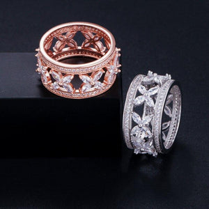 Wide Love Leaf Style CZ Crystal Finger Women Engagement Rings Wedding Party Jewelry - EUFASHIONBAGS