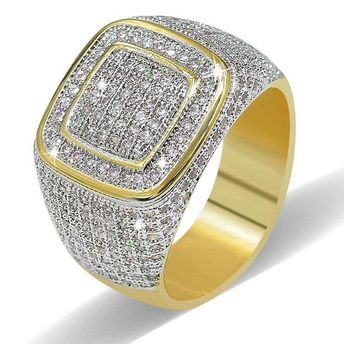CZ Square Cubic Zirconia Men Rings  Hip Hop jewelry gift - EUFASHIONBAGS