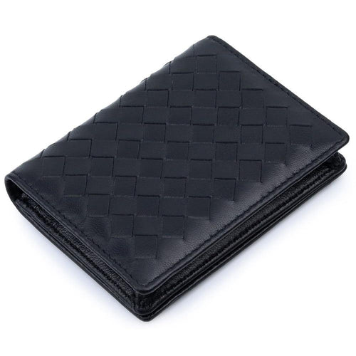 HandMade Soft SheepSkin Knitting Card Wallets Genuine Leather Business Card Holders Unisex Card Case - EUFASHIONBAGS