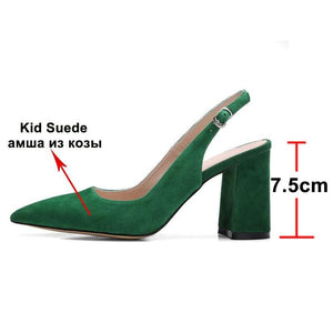 Women High Heel Pumps Kid Suede Square Slingbacks Real Leather Pointed Toe Shoes - EUFASHIONBAGS