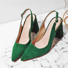 Load image into Gallery viewer, Women High Heel Pumps Kid Suede Square Slingbacks Real Leather Pointed Toe Shoes - EUFASHIONBAGS