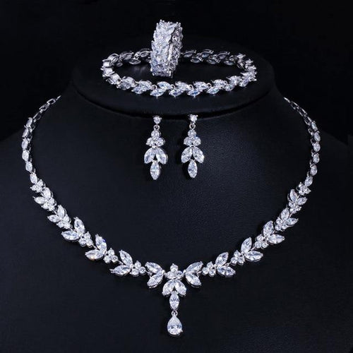 4Pcs Wedding Bridal Jewelry Sets Cubic Zircon Necklace Earrings Ring and Bracelet Accessories - EUFASHIONBAGS