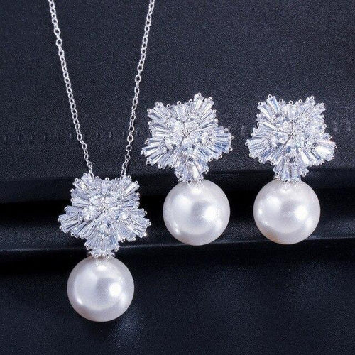 Top Quality Cubic Zirconia Flower Pearl Necklace Pendant and Earrings Women Jewelry Sets - EUFASHIONBAGS