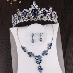 Baroque Silver Plated Blue Crystal Bridal Jewelry Sets Necklace Earring Tiara Crown Set - EUFASHIONBAGS