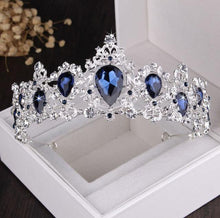 Load image into Gallery viewer, Baroque Silver Plated Blue Crystal Bridal Jewelry Sets Necklace Earring Tiara Crown Set - EUFASHIONBAGS