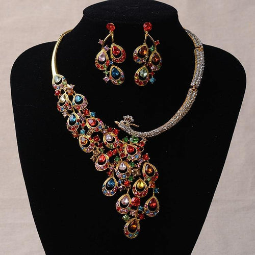 Gold Rhinestone Peacock Bridal Jewelry Sets Silver Plated Crystal Statement Necklace Earrings Sets Wedding Jewelry Set - EUFASHIONBAGS