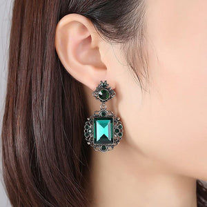 Vintage Ethnic Green Stone Drop Earrings for Women - EUFASHIONBAGS