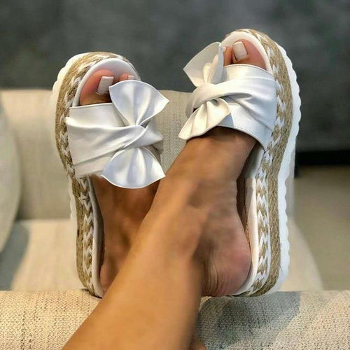 Summer Women Sandals Platform Shoes Women Bow Slipper Outdoor Flip-flops Beach Shoes Slippers - EUFASHIONBAGS