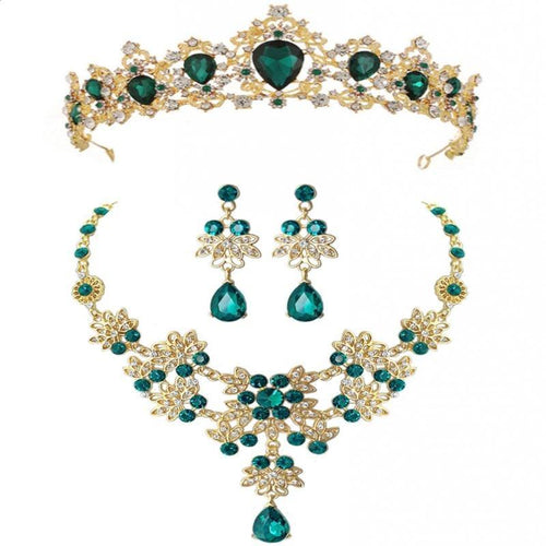 Baroque Vintage Gold Red Green Blue Crystal Bridal Jewelry Sets Necklace Earrings Tiara Set - EUFASHIONBAGS