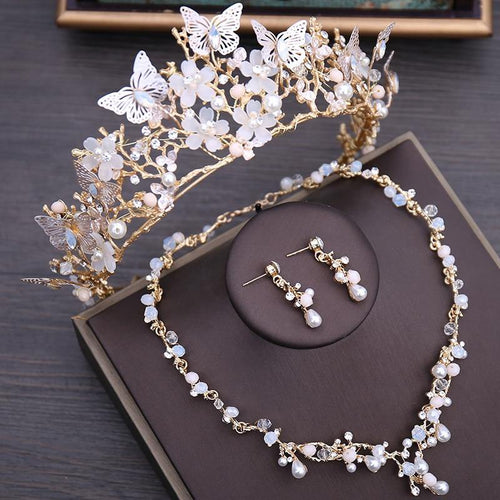 Luxury Crystal Floral Pearl Butterfly Tiara Wedding Costume Jewelry Sets Choker Necklace Earrings - EUFASHIONBAGS