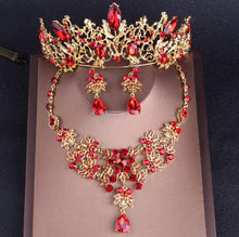 Load image into Gallery viewer, Fashion Women Gold Red Crystal Bridal Jewelry Sets Rhinestone Tiaras Crown Choker Necklace Earrings - EUFASHIONBAGS