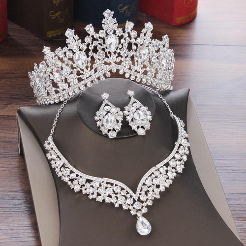 Rhinestone Tiaras Crown Necklace Earrings Crystal Water Drop Bridal Jewelry Sets - EUFASHIONBAGS