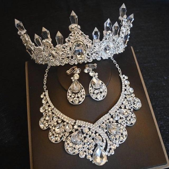 Bridal Jewelry Sets Silver Plated Crystal Crown Tiaras Necklace Earrings Set For Bride Hair Accessories - EUFASHIONBAGS