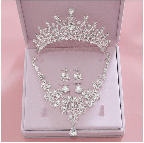 Fashion Crystal Wedding Bridal Jewelry Sets Tiara Crowns Necklace Earrings Women Accessories - www.eufashionbags.com