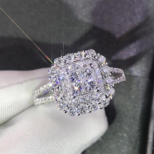 Fashion Women Square Shape Crystal Zircon Ring Wedding Engage Bridal Rings - EUFASHIONBAGS